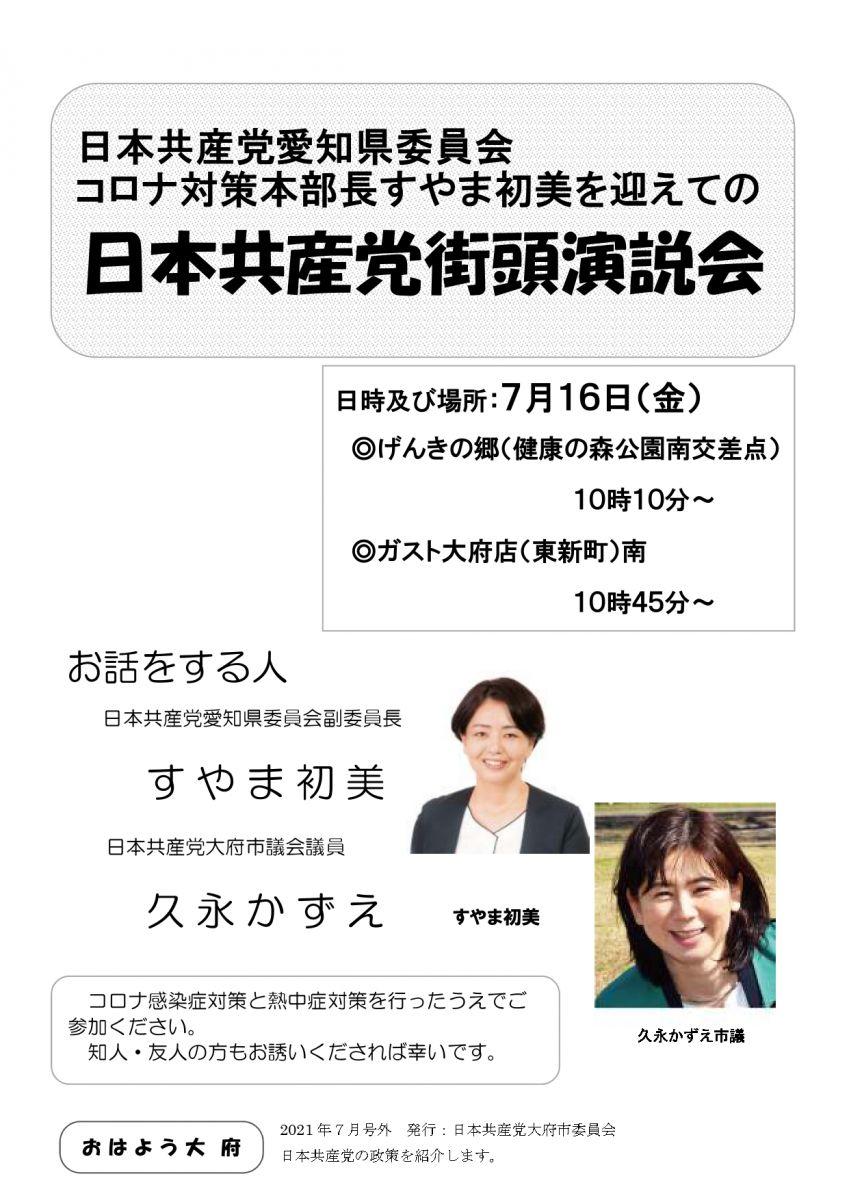 コロナ対策本部長すやま初美を迎えての日本共産党街頭演説会
